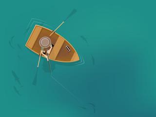 cartoon man in fishing boat from a bird's eye view