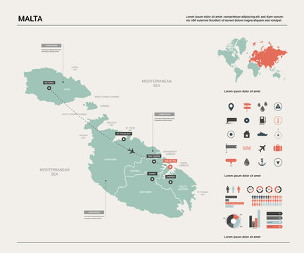 Vector map of Malta. Country map with division, cities and capital Valletta. Political map,  world map, infographic elements.