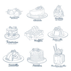 Berry mix dessert collection of icons isolated on white background. Hand drawn vector illustration black and white colors