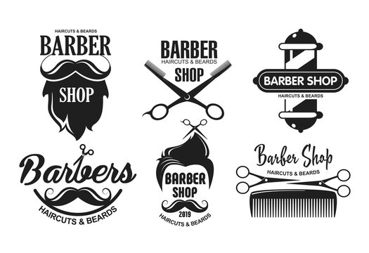 Vector illustration set of barbershop logos, emblems and labels in vintage style. Badges and logos isolated on white background.