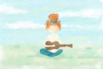 Girl playing guitar relaxing in the garden - watercolor painted illustration