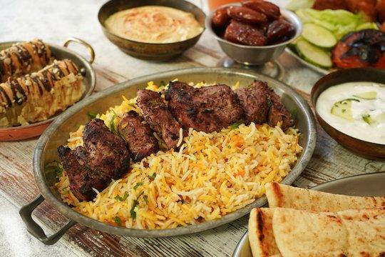 Ramadan feast/Iftar  food dinner composition, selective focus