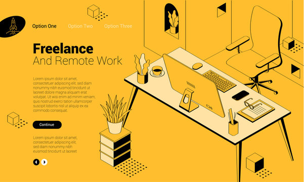 isomentric freelancer workplace.