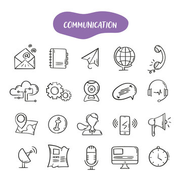 Hand drawn line style icons of Communication. Doodle icons set