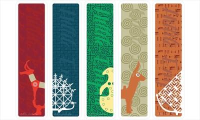 Vector set of ornate vertical Bookmark cards in Anatolian Civilizations series. Hittite Empire.