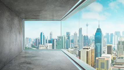 Empty loft unfurnished contemporary interior office with city skyline and buildings city from glass window . Wall mural