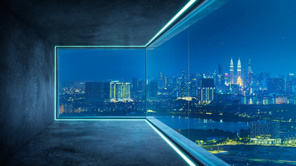 Empty loft unfurnished contemporary interior office with city skyline and buildings city from glass window . Fotomurales