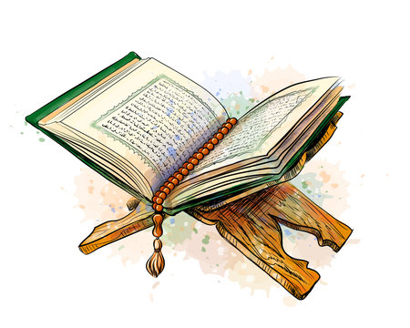 The open holy book the Koran on a stand. Vector sketch drawn image with watercolor splashes on white background