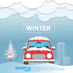 Foto auf Leinwand Cartoon cars Car front View on snow winter season Vector Illustration