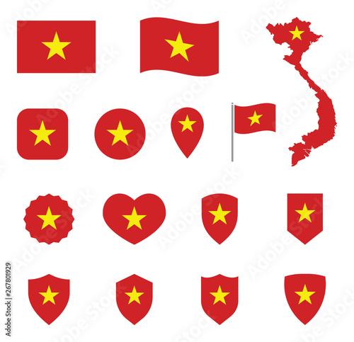 Vietnam flag icon set, flag of the Socialist Republic of