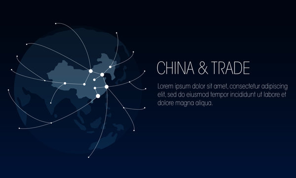 Chinese import, export and trading rouutes vector globe design.