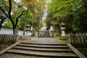 Kyoto, Japan - November 9, 2016: Beautiful long staircase of Chionin temple which is the head temple of the Jodo sect of Japanese Buddhism in Kyoto, Japan