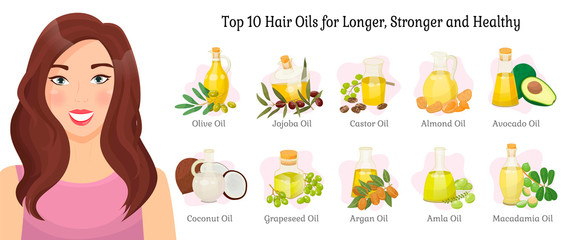 Top ten oils vector advertisement for longer, stronger and healthy hair. Vector olive and jojoba, castor and almond, illustrations of oil for hair, avocado and coconut, grapeseed, argan, amla