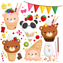 Foto op Textielframe Beren a vector of many ice cream with cute bear on top