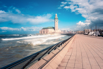 scenic view of Hassan II mosque from the walk alley - Casablanca - Morocco