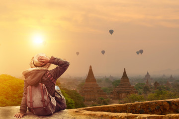 Young traveler in Bagan Mandalay Myanmar Wall mural