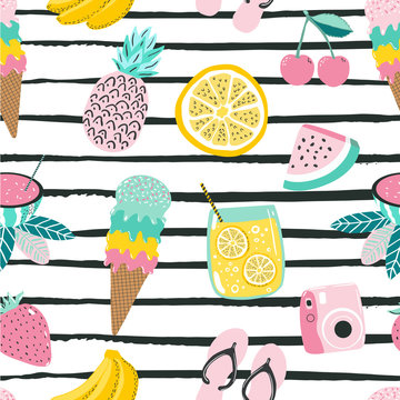 Summer fun hand drawn seamless pattern with stripes on background and colorful summer fruits