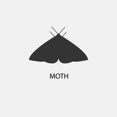 Moth vector icon illustration sign