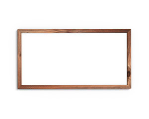 Old wooden frame mockup 1x2 horizontal on a white background. 3D rendering.