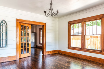 Old house with original shiplap, french doors and wood floors