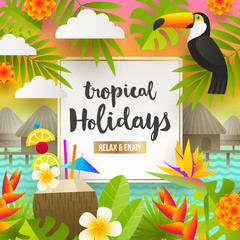 Tropical holidays and beach vacation illustration. Flat vector design.