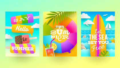 Vector flat design. Set of summer holidays and tropical vacation  posters or greeting card.