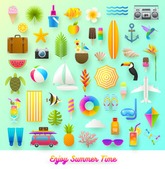 Flat vector illustration. Set of summer vacation and travel items.