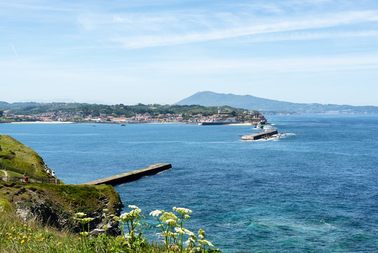 Sea walls at the entrance of the bay of Saint Jean de Luz. Basque Country of France.