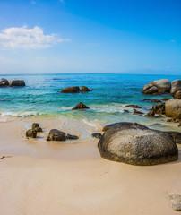 The boulders on beach of the Atlantic Ocean