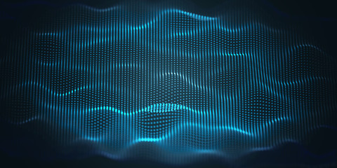 Fotoväggar - Blue Wavy Particle Surface Background