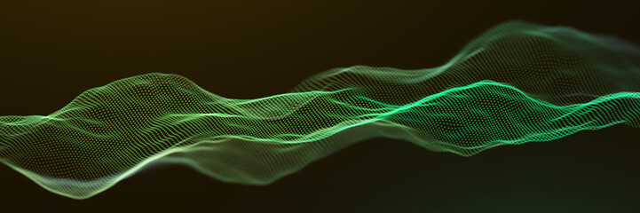 Fotoväggar - Abstract Green Particle Waves Surface Background
