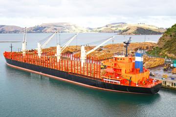Port Chalmers, Dunedin, Otago, New Zealand, Cargo ship loaded with tree logs