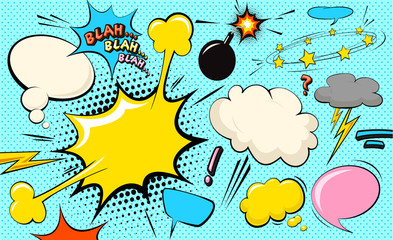 Pop art cloud bubble. Blah, blah, blah funny speech bubble. Trendy Colorful retro vintage comic background in pop art retro comic style. Illustration easy editable for Your design.