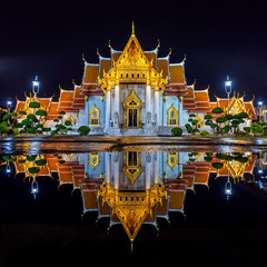 Wall Mural - Wat Benchamabophit or the Marble Temple at night in Bangkok, Thailand.
