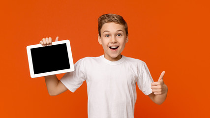Teenage boy showing blank digital tablet screen