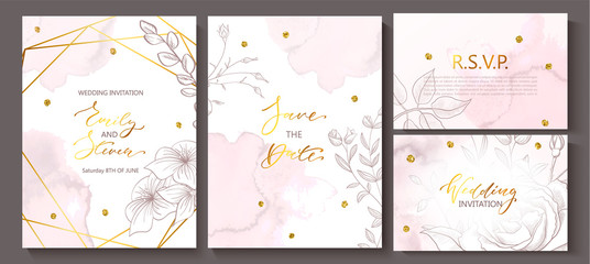 Fototapeta Wedding invitation cards with watercolor texture,hand-drawn flowers and plants,geometric shapes and Golden sequins.Vector illustration. obraz
