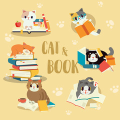 Collection of vector cat with a book set. pile of book with a cat. A cute character of cat with a book.study by my self.element of book. cute flat vector design style. text on paper.in the library