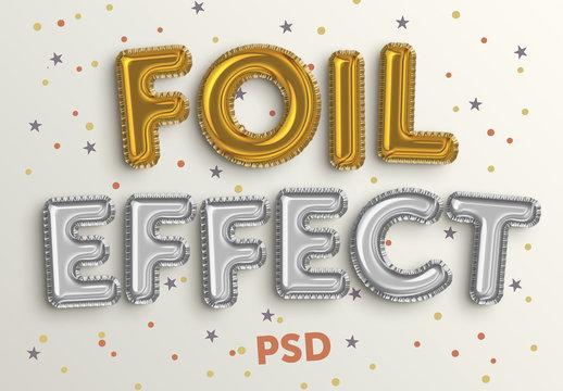 Foil Balloon Text Effect Mockup