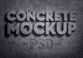 3D Concrete Text Effect Mockup
