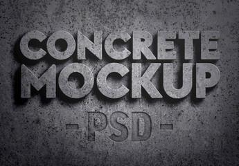 3D Concrete Text Effect Mockup