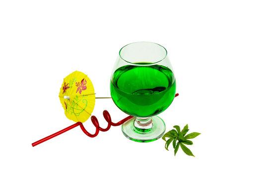Concept of marijuana cocktail, drink containing thc or cbd