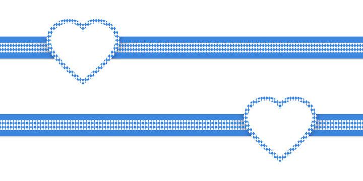 2 Bänder Mit Herzen Rautenmuster Blau/Weiß