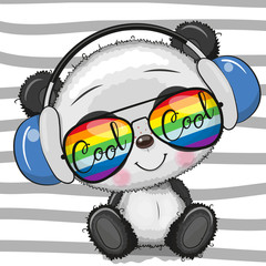 Cool Cartoon Cute Panda with sun glasses