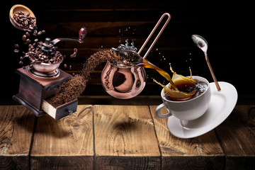 Coffee preparation. Conceptual photo - turning coffee beans into beverage.