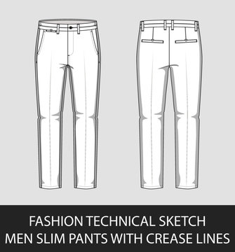Fashion technical sketch men slim pants with crease lines