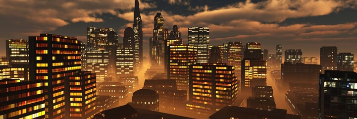 Poster Marron chocolat Night city ,, modern high-rise buildings in the evening in the fog under the sky with terrible clouds, 3d rendering