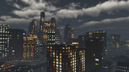 Night city ,, modern high-rise buildings in the evening in the fog under the sky with terrible clouds, 3d rendering