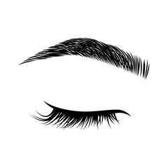 Eyelashes and eyebrows vector logo