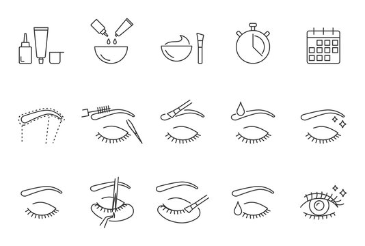 Eyelashes and eyebrows correction vector icons set