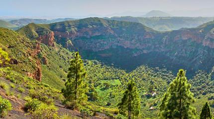"Hiking at volcanic crater ""Pico de Bandama"" in Gran Canaria - Spain"